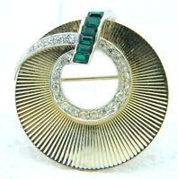 VTG Dual Tone Clear Green Rhinestone Wreath Art Deco Style Pin Brooch
