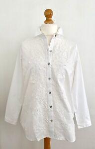 J.Jill Pretty White Eyelet and Applique Cotton Shirt Size Small