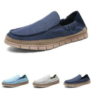 Mens Driving Moccasins Comfy Breathable Canvas Pumps Slip on Loafers Shoes Hot D