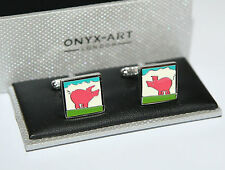 Square Design *Boxed* Gift New Novelty Cufflinks - Pink Pig,