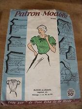 ANCIEN PATRON ECHO DE LA MODE BLOUSE CORSAGE  DECOLLETE BATEAU   TAILLE 44