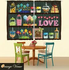 """55"""" x 39"""" Colorful Lollipops Candy Kitchen Panels Set Yummy Sweets Kids Curtain"""