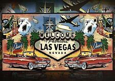 Welcome to Fabulous Las Vegas Nevada Sign, Plane, Cars, Playing Cards - Postcard