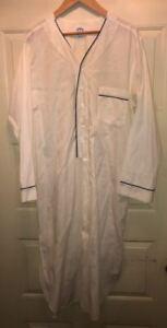 Brooks Brothers Vintage Off-White Long Nightshirt Sleep Shirt Black Trim Medium