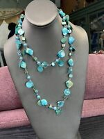 "Vintage Bohemian  40"" Mother of pearl Blister shell Pale Turquoise blue"