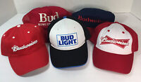 Vintage Lot of 5 Budweiser Baseball Hats Trucker Caps Bud Light King of Beers
