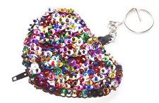 Glamouröse Affäre bunte Sequenz/Reißverschluss Herz Geldbörse & Chrome Schlüsselanhänger (Zx298)