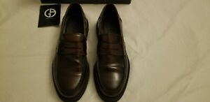 $595 Giorgio Armani Mens Loafer Calf Leather Shoes Burgundy Penny US 9 D UK 8