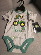 New With Tags Baby Boy Beige/Green John Deere Outfit Size 6 Months-100% Cotton