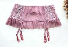Women Sexy Garter Belt 4 Suspenders 4 Breasted Ruffles Mesh Mini skirt Purple M