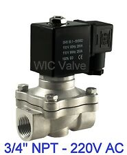 3/4 Inch Stainless Electric Air Water Solenoid Valve NC 220/240V AC Viton Seal