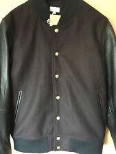 Club Monaco (nueva york) leather and wool-Blend bombarderos Jacket talla L * nueva *