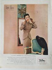 1950 Lilli Ann women's brown suit shirring vintage clothing fashion ad
