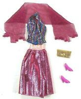 Barbie Vintage Fitting Pink Tinsel Outfit Skirt Top Wrap Shoes Gold Dimple Bag