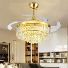 "Crystal Golden 42"" Retractable Invisible Fan Acrylic Blade Ceiling Fan Remote"