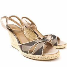 BURBERRY Wedge Espadrille Ankle Strap Sandal Shoe Check Plaid - 39 - Italy