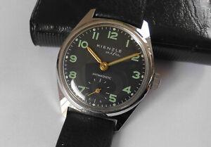 Herren ⌚ KIENZLE ALFA Schwarz/Chrom Handaufzug Vintage 70er Uhr läuft mit Fehler