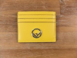 $299 FENDI yellow F is Fendi gold plaque leather card holder - New in Box