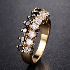 BLANC & CRISTAL NOIR anneaux or 18K Rempli Bijoux Bague Taille 7.5 Korean Lot
