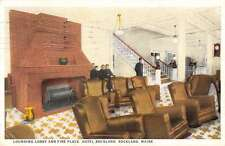 Rockland Maine lounging lobby and fireplace Hotel Rockland antique pc Z21886