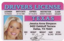 Jessica Simpson of The Dukes of Hazzard - Daisy Duke fun novelty drivers license