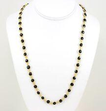 Black Spinel Necklace Long Bezel Set 14k Gold GF 24 Inch Round Faceted Round