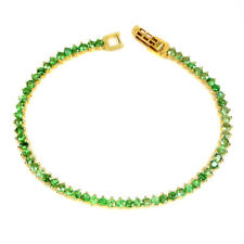 Unheated Round Green Tsavorite Garnet 3mm 925 Sterling Silver Bracelet 7.5 Ins