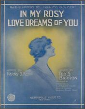 1914 IN MY ROSY LOVE DREAMS OF YOU Kerr & Barron PRETTY GIRL COVER Sheet Music