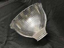 """Vtg HOLOPHANE Glass Lamp Shade Ribbed Ruffle Prismatic Pendant 4.75x7 2 1/4"""" Fit"""