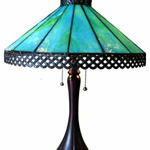 Teal Turquoise Blue Stained Glass Table Lamp Mission Tiffany Style 2-Bulb Light