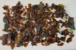 Vintage Lot of Amber Brown Salvaged Tumbled Sea Beach Glass