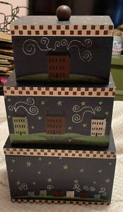 Set of 3 Wooden Country Nesting Stacking Boxes, Cute & Functional, EUC