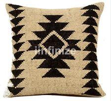 2 PC Wool Jute Cushion Cover Handwoven Euro Sham Rustic Sofa Sham Vintage Hippie