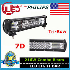 7D TRI ROW 14IN 216W PHILIPS LED LIGHT BAR  SUV BOAT TRUCK DRIVING LAMP VS 108W