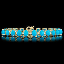 Certified 27.00cttw Turquoise 1.10cttw Diamond 14KT White Gold Bracelet