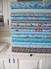 5x Stoff BLAU Tupfen Streifen Stoffe Stoffpaket Baumwolle Patchwork Shabby chic