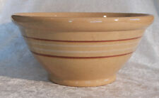 LARGE 11.5 INCH BANDED BOWL YELLOW WARE RARE VINTAGE ANTIQUE YELLOWARE