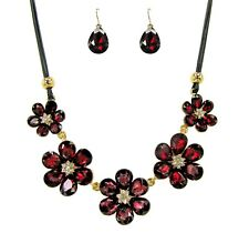 Ruby Red Crystal Flower Statement Necklace and Earring Set - New