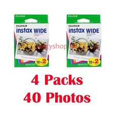 4 Packs FujiFilm Instax Wide Film, 40 Sheets Fuji Instant Photos 210 300