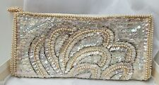 Vintage Hand Made Sequined & Beaded Clutch Evening HandBag La Regale w box