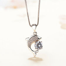 Crystal Dolphin Pendant 925 Sterling Silver Chain Necklace Womens Jewellery Gift