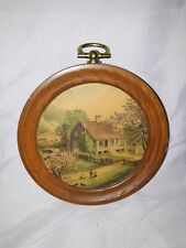 "3.5"" Vintage Wooden Circle Wall Hanging Painting Collectible Home Decor"