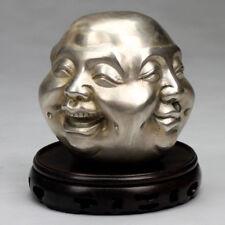 Buddha-Kopf Vier Emotionen Deko-Figur, Skulptur silberfarben China