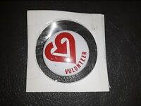 Volunteer pin with Heart design Pin Vintage Pinback Button Rare vtg