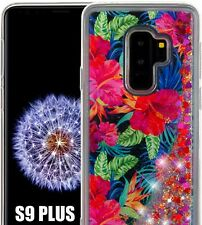 SAMSUNG GALAXY S9+ PLUS - Floating Liquid Pink Hibiscus Flowers Glitter TPU Case