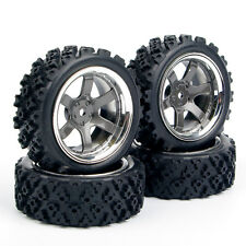4Pcs RC 1:10 HPI Racing Off Road Rubber Tires Wheel Rims 12mm Hex PP0038+PP0487