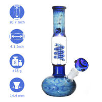 Blue Pattern Glass Water Pipe Bong Bubbler Hookah Ice Catcher Filter Handmade