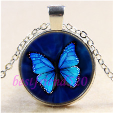 Blue Pretty Butterfly Cabochon Glass Tibet Silver Chain Pendant Necklace#CA46