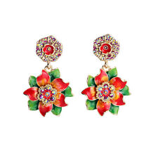 Earrings CLIP ON Gold Green Red Pink Flower Round Pendant Wedding Vintage A8