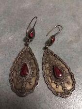 carnelian and brass earrings